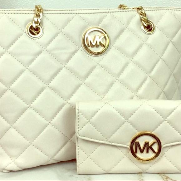 5bb649483a903e MICHAEL Michael Kors Bags | Michael Kors Vanilla Fulton Quilt Bundle ...